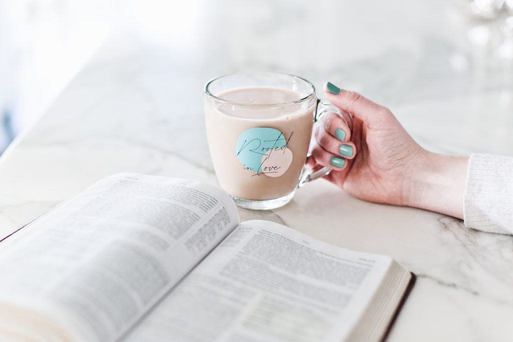 rooted in love mug, bible, friendship, christian