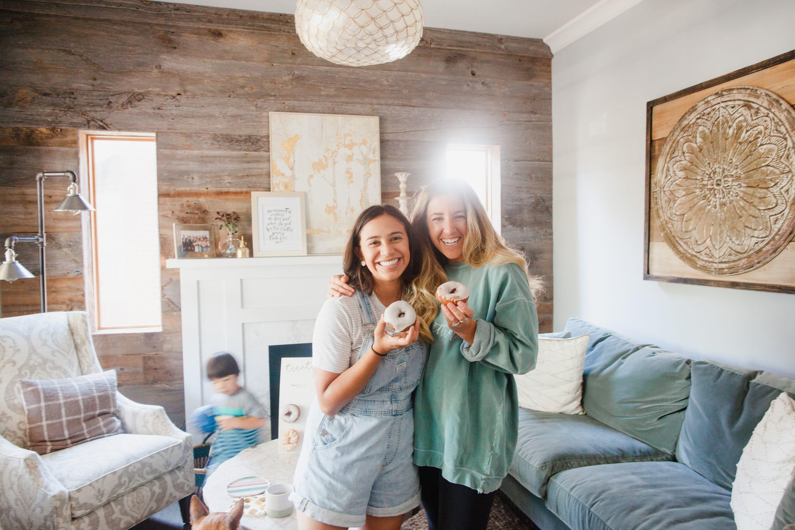 donut, girls holding, friends, jesus, community